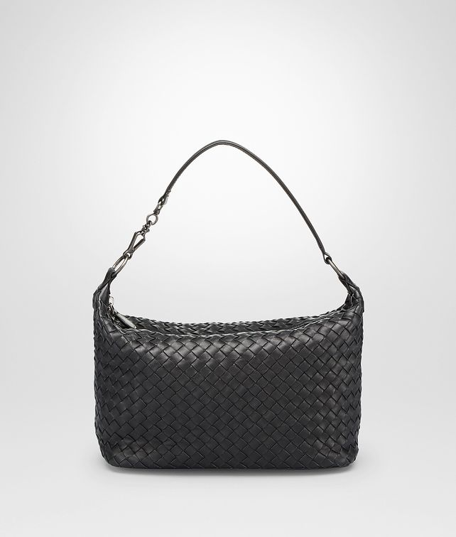 BOTTEGA VENETA SMALL SHOULDER BAG IN NERO INTRECCIATO NAPPA Shoulder or hobo bag Woman fp