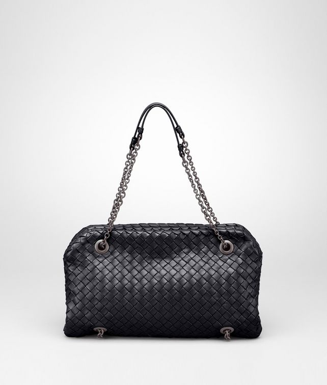 BOTTEGA VENETA Duo Bag Nera in Nappa Intrecciata Borsa a spalla D fp