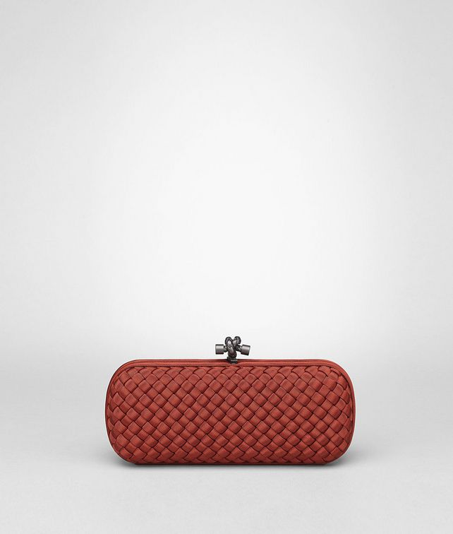 BOTTEGA VENETA STRETCH KNOT CLUTCH IN BRIQUE INTRECCIO FAILLE MOIRE Clutch D fp