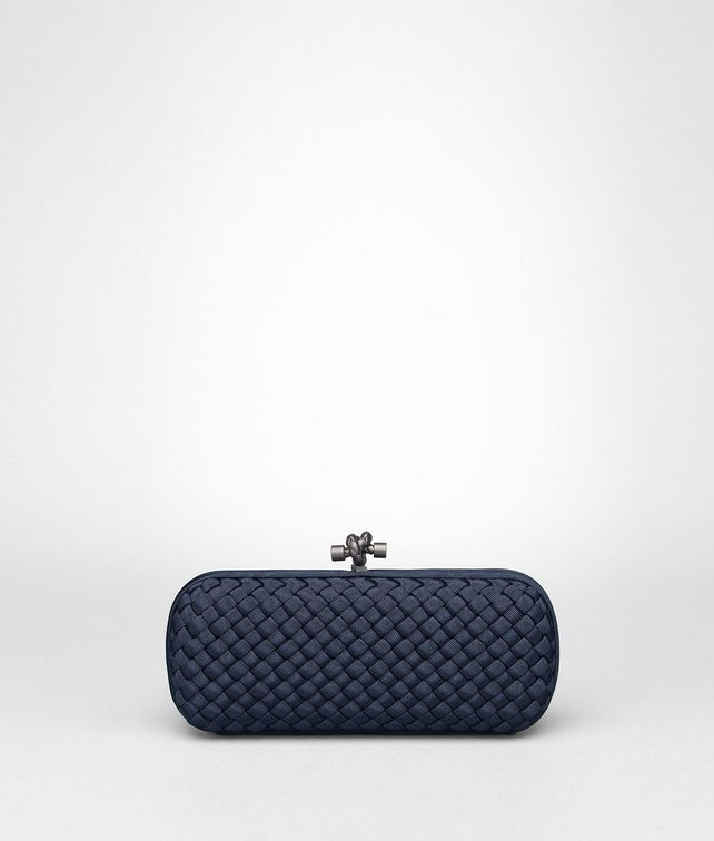 BOTTEGA VENETA STRETCH KNOT IN PRUSSE INTRECCIO FAILLE MOIRE Clutch D fp