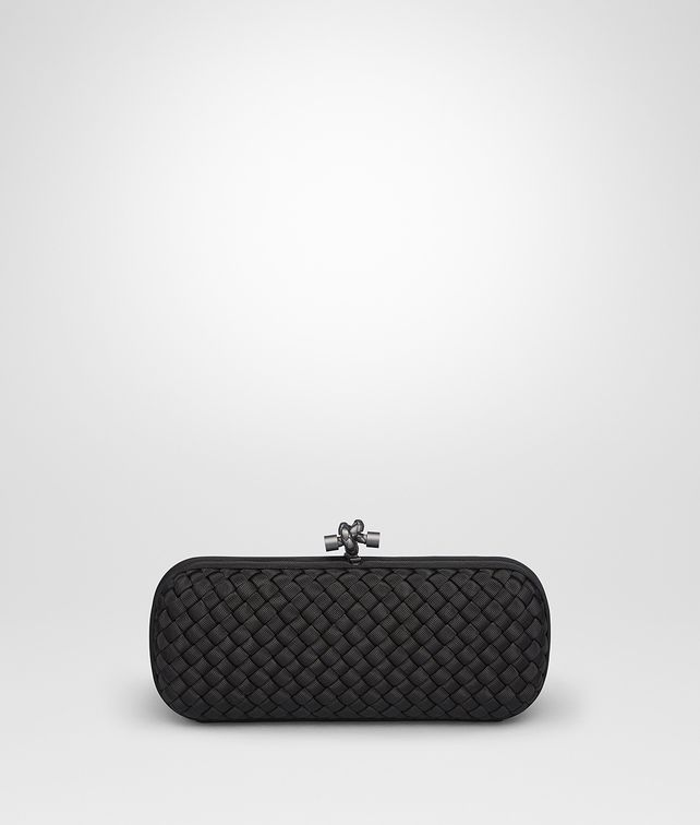 BOTTEGA VENETA STRETCH KNOT IN NERO INTRECCIO FAILLE MOIRE Clutch D fp