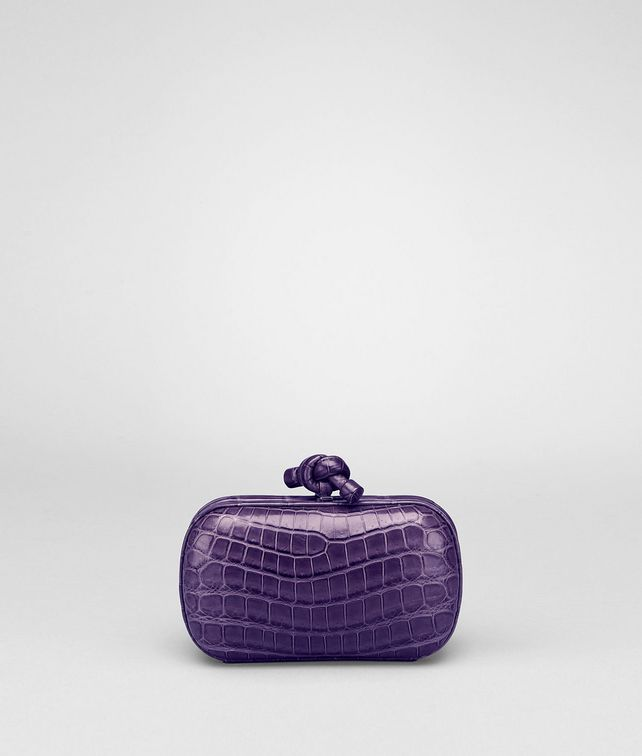 BOTTEGA VENETA KNOT IN PLUM CROCODILE Clutch Woman fp