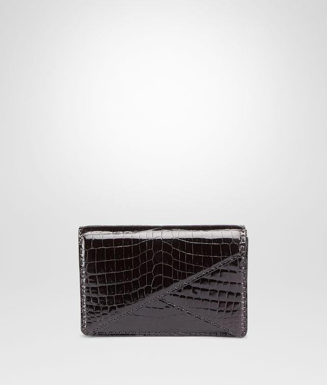 BOTTEGA VENETA Clutch Nera in Shiny Crocodile Pochette D fp