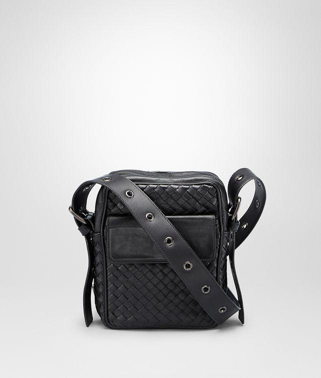 BOTTEGA VENETA Umhängetasche aus VN-Leder Intrecciato Nero Messenger Tasche U fp
