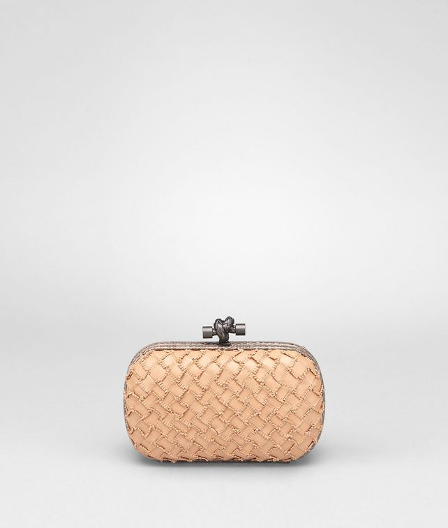 BOTTEGA VENETA Poussin Nappa Intrecciato Fringes and Ayers Knot Clutch D fp