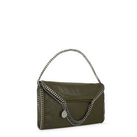 Falabella Fold Over Tote in Shaggy Deer Verde Oliva