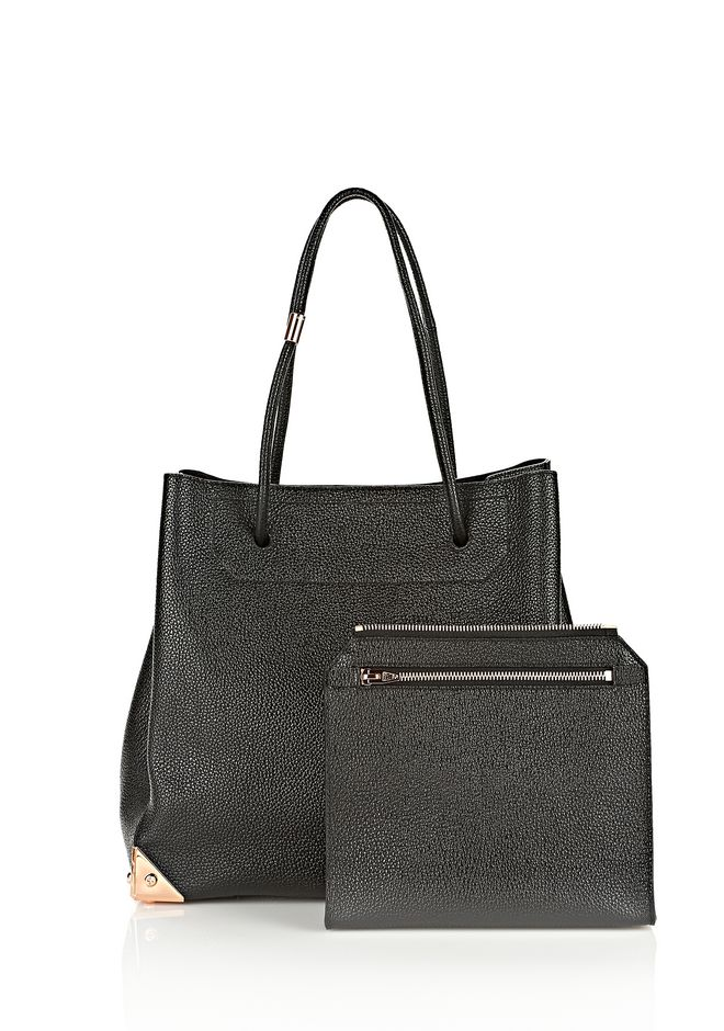 ALEXANDER WANG PRISMA LARGE TOTE IN PEBBLED BLACK WITH ROSE GOLD TOTE/DEL Adult 12_n_d