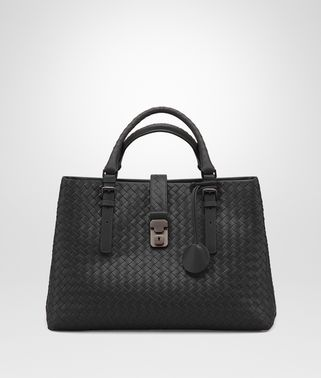 MEDIUM ROMA BAG IN NERO INTRECCIATO CALF