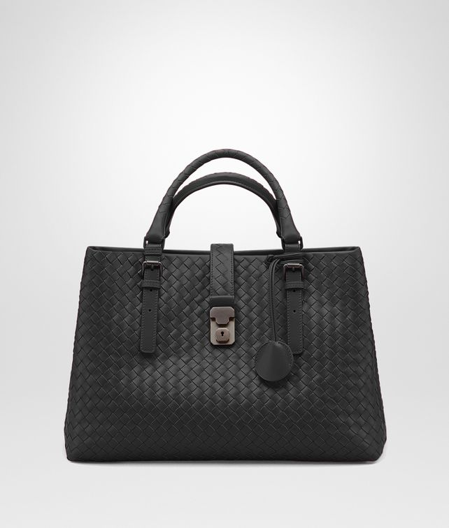 BOTTEGA VENETA BORSA ROMA MEDIA IN VITELLO INTRECCIATO NERO Borsa a Mano D fp