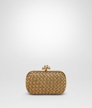 KNOT CLUTCH IN ORO BRUCIATO INTRECCIO