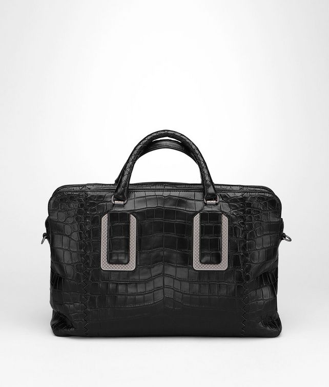 BOTTEGA VENETA AKTENTASCHE AUS KROKODILLEDER IN NERO Business Tasche U fp