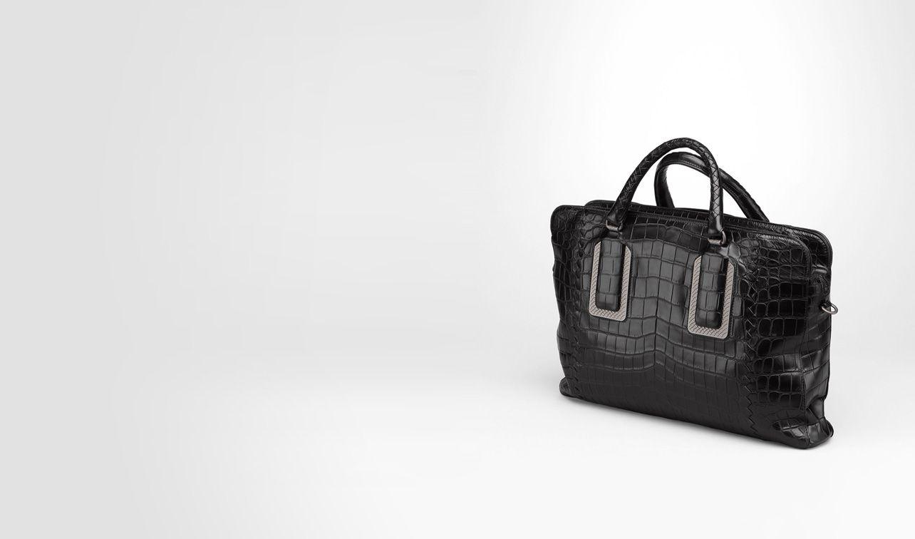 BOTTEGA VENETA Business bag U BRIEFCASE IN NERO CROCODILE pl