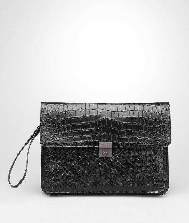 BOTTEGA VENETA Porta Documenti Nero in Soft Crocodile Intrecciato Porta Documenti e Marsupio U fp