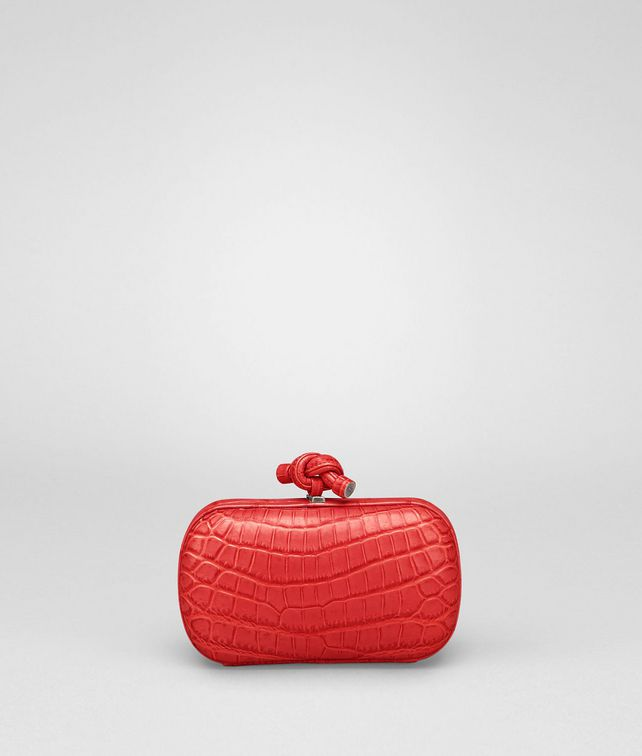 BOTTEGA VENETA New Red Soft Crocodile Fume Knot Clutch D fp