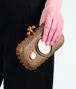 BOTTEGA VENETA Bronze Brique Brown Porcelain Ayers Verre Irise Zircon Knot Clutch D ap
