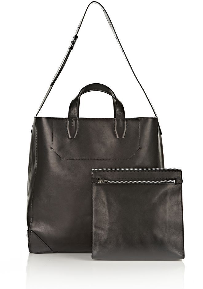 ALEXANDER WANG WALLIE CARRYALL SHINY BLACK WITH RHODIUM Travel Adult 12_n_e