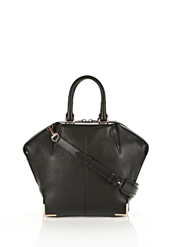 ALEXANDER WANG SMALL EMILE IN SOFT BLACK WITH ROSE GOLD TOTE Adult 12_n_f