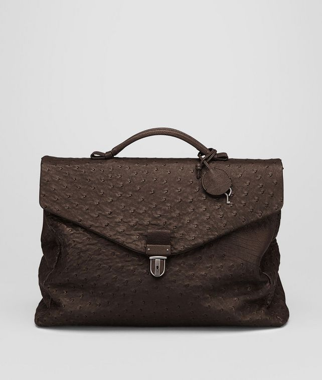 BOTTEGA VENETA Aktentasche aus Straußenleder Cioccolato Antique Business Tasche U fp