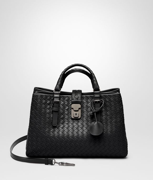 BOTTEGA VENETA SMALL ROMA BAG IN NERO INTRECCIATO CALF Top Handle Bag D fp