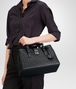 BOTTEGA VENETA SMALL ROMA BAG IN NERO INTRECCIATO CALF Top Handle Bag D lp