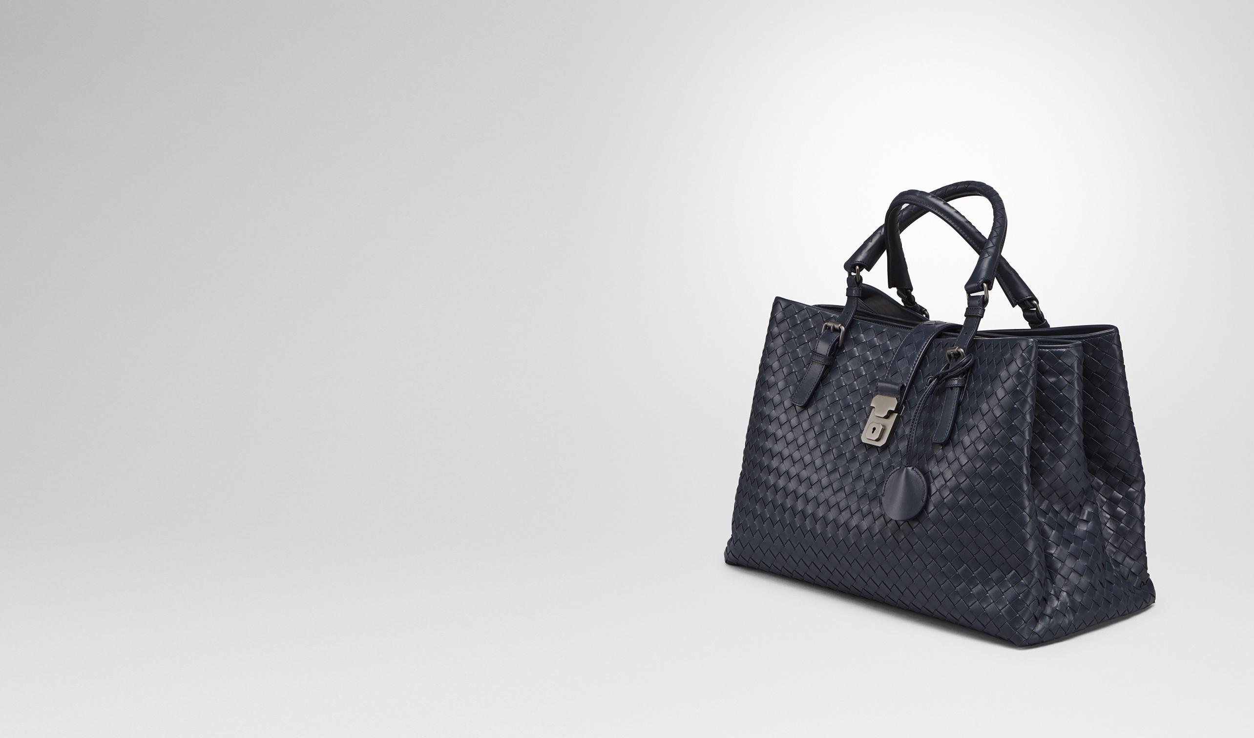 BOTTEGA VENETA Top Handle Bag D MEDIUM ROMA BAG IN PRUSSE INTRECCIATO CALF pl