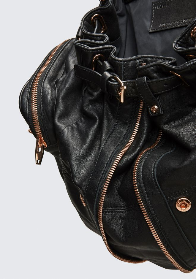 ALEXANDER WANG MARTI BACKPACK IN WASHED BLACK WITH ROSE GOLD BACKPACK Adult 12_n_e
