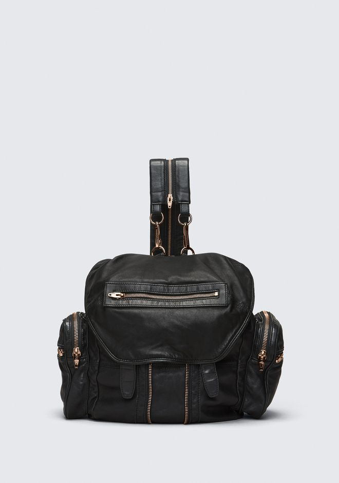 ALEXANDER WANG MARTI BACKPACK IN WASHED BLACK WITH ROSE GOLD BACKPACK Adult 12_n_f