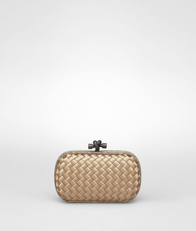 BOTTEGA VENETA Walnut Intreccio Impero Ayers Knot Clutch D fp