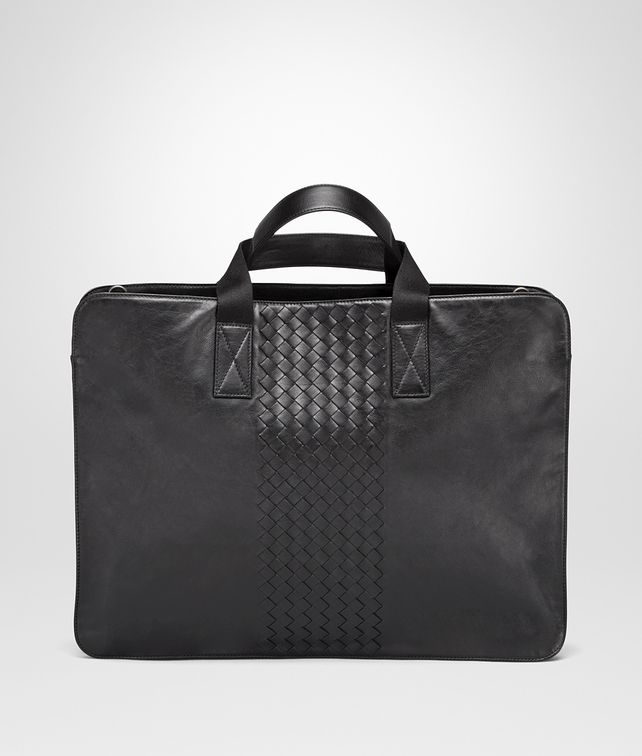 BOTTEGA VENETA BRIEFCASE IN NERO CALF, INTRECCIATO DETAILS Business bag Man fp