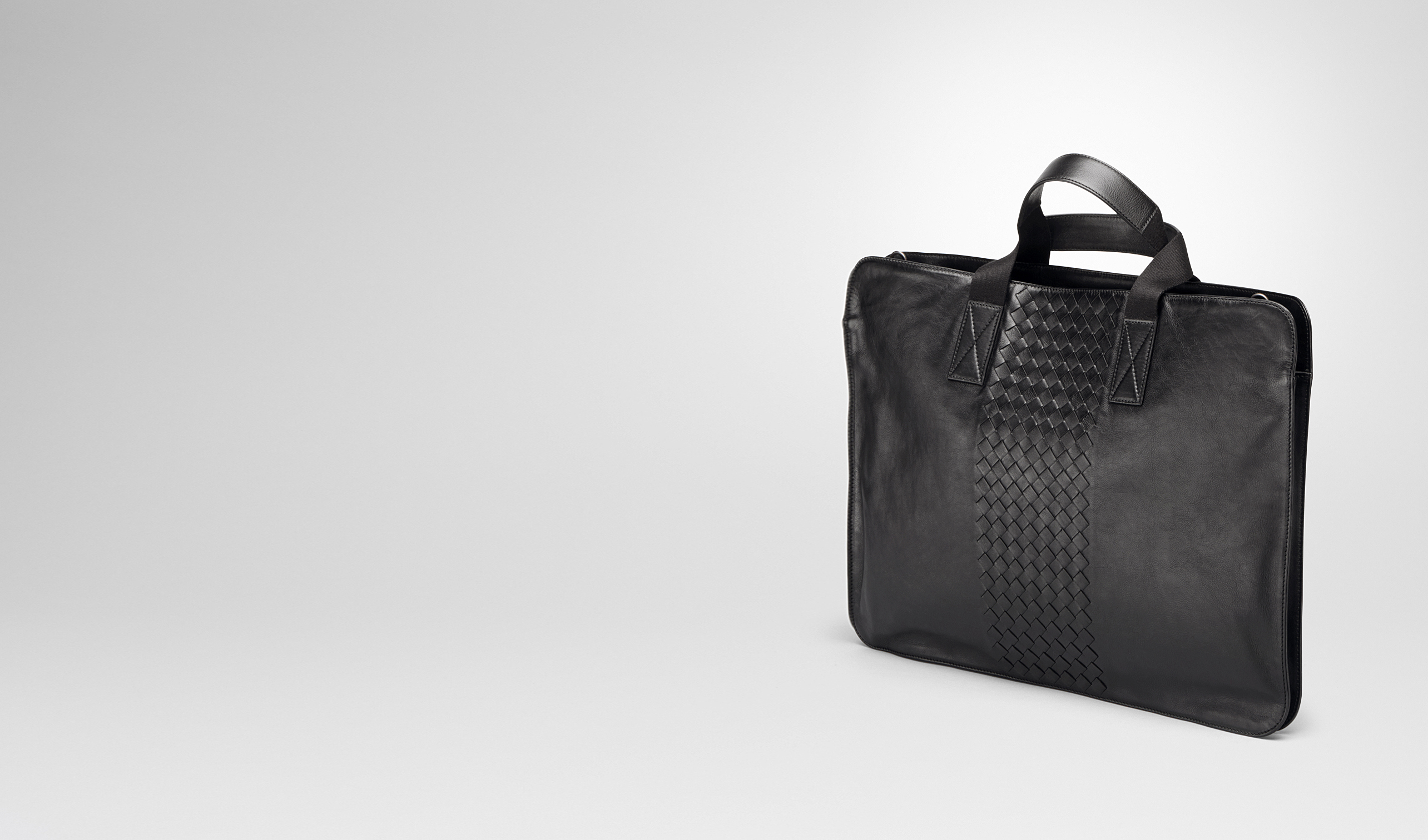 BOTTEGA VENETA Business bag U BRIEFCASE IN NERO CALF, INTRECCIATO DETAILS pl