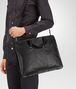 BOTTEGA VENETA BRIEFCASE IN NERO CALF, INTRECCIATO DETAILS Business bag Man lp