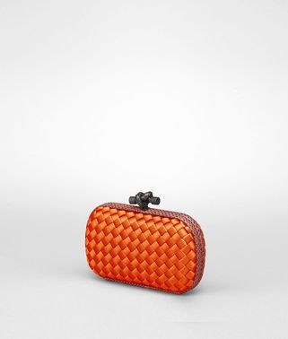 KNOT CLUTCH IN TANGERINE INTRECCIO IMPERO, AYERS DETAILS