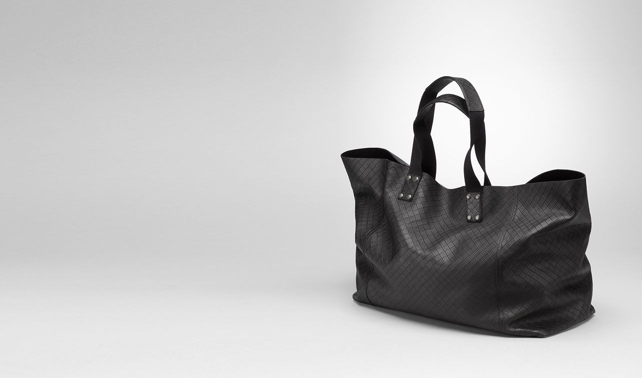 BOTTEGA VENETA Shopper U Shopper aus Intrecciomirage Lavé Nero pl