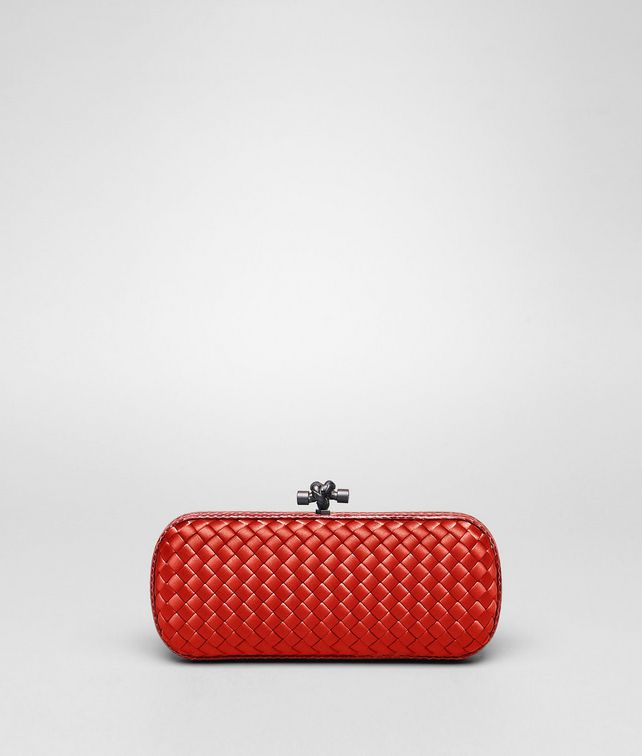 BOTTEGA VENETA New Red Intreccio Impero Ayers Stretch Knot Clutch D fp