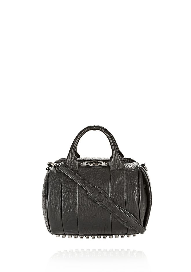 ALEXANDER WANG womens-classics ROCKIE IN PEBBLED BLACK WITH BLACK NICKEL