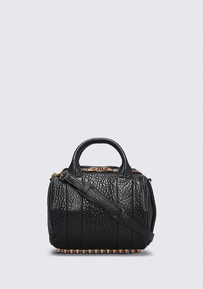 ALEXANDER WANG rockie-rocco ROCKIE IN PEBBLED BLACK WITH ROSE GOLD