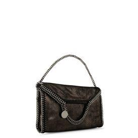 Tote Bag Falabella mit Überschlag aus glänzendem, gepunktetem Chamois in der Farbe Ruthenium
