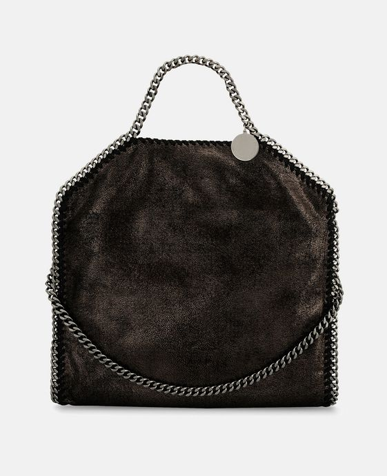 Ruthenium Falabella Shiny Dotted Chamois Fold Over Tote