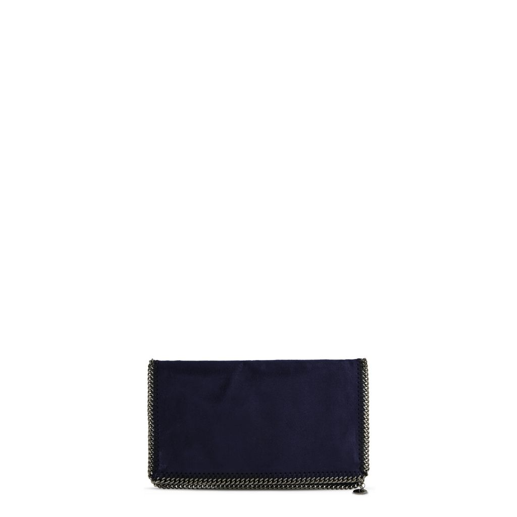 Navy Falabella Shaggy Deer Fold Over Clutch - STELLA MCCARTNEY