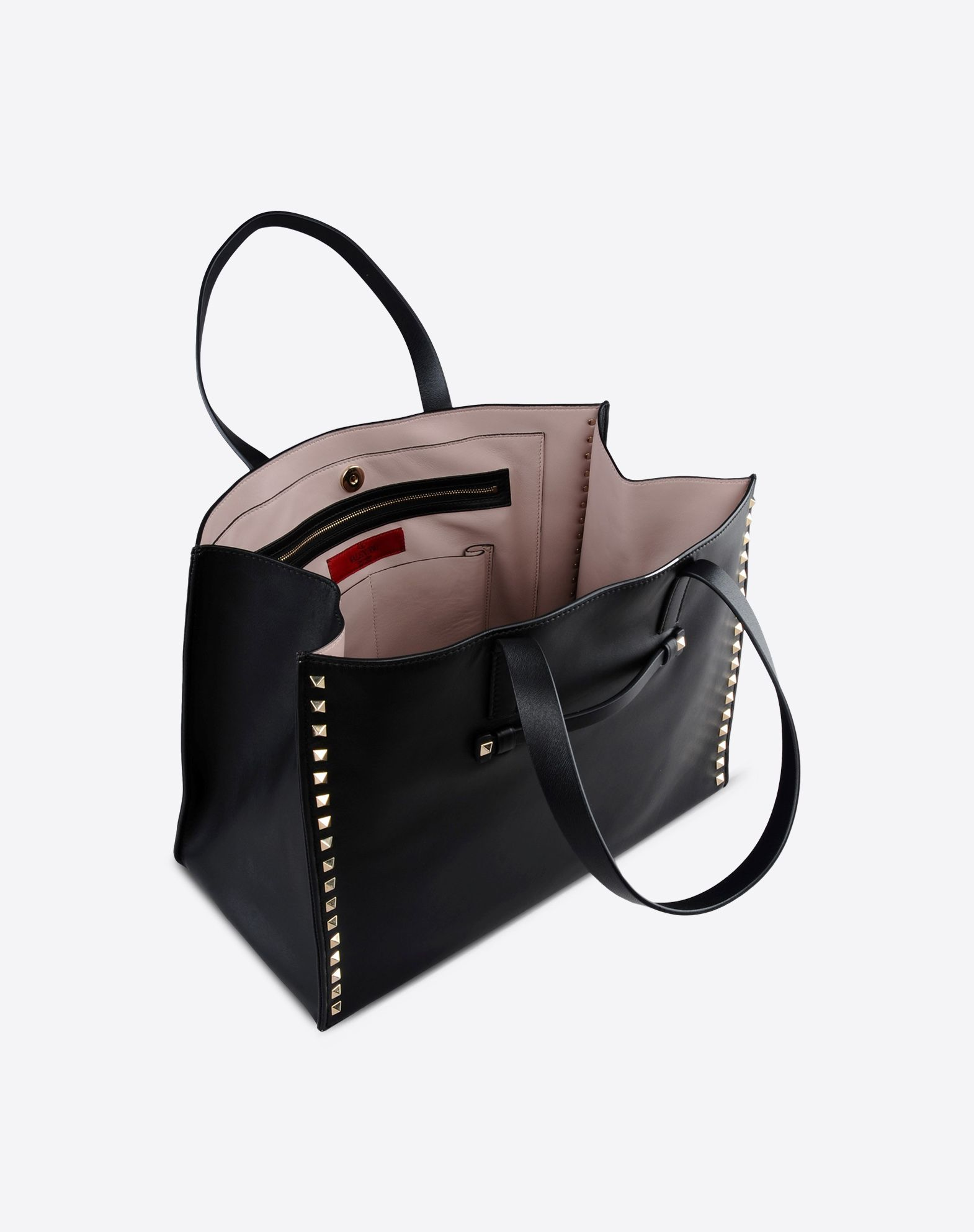 VALENTINO Solid color Magnetic closure Internal pockets Double handle Logo detail Metallic inserts  45221431hf