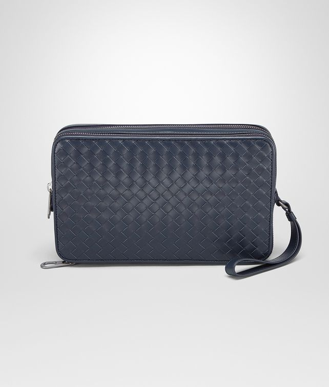 BOTTEGA VENETA PORTE-DOCUMENTS LIGHT TOURMALINE EN CUIR VN INTRECCIATO Petit sac U fp