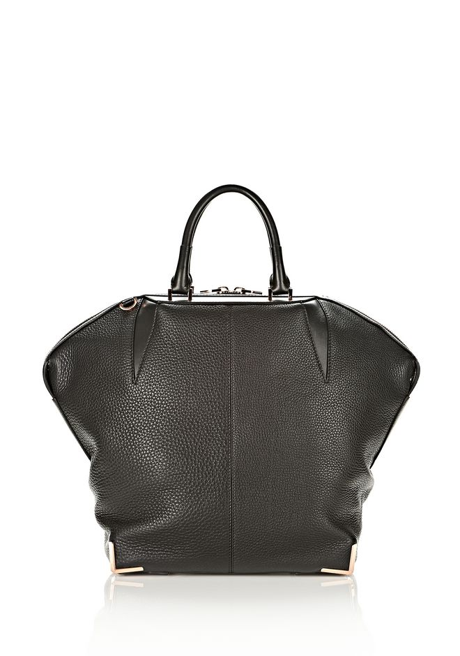ALEXANDER WANG LARGE SKELETAL EMILE IN SOFT PEBBLED BLACK WITH ROSE GOLD TOTE/DEL Adult 12_n_d