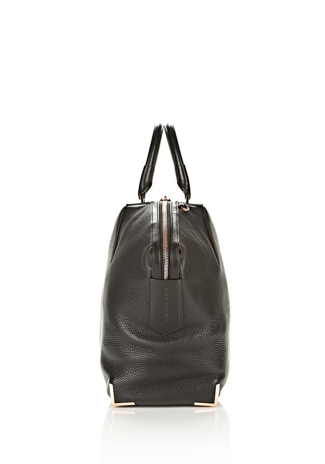 ALEXANDER WANG LARGE SKELETAL EMILE IN SOFT PEBBLED BLACK WITH ROSE GOLD TOTE/DEL Adult 12_n_e