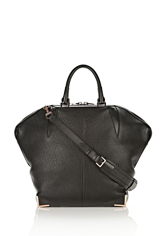 ALEXANDER WANG LARGE SKELETAL EMILE IN SOFT PEBBLED BLACK WITH ROSE GOLD TOTE/DEL Adult 12_n_f
