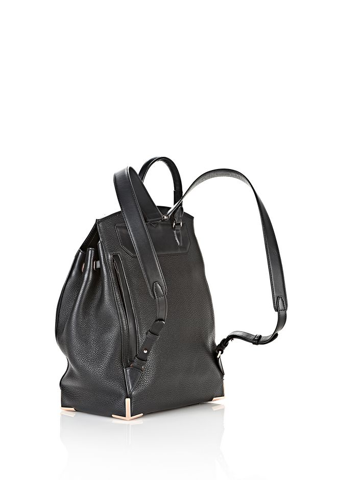 ALEXANDER WANG PRISMA SKELETAL BACKPACK IN SOFT BLACK WITH ROSE GOLD BACKPACK Adult 12_n_e