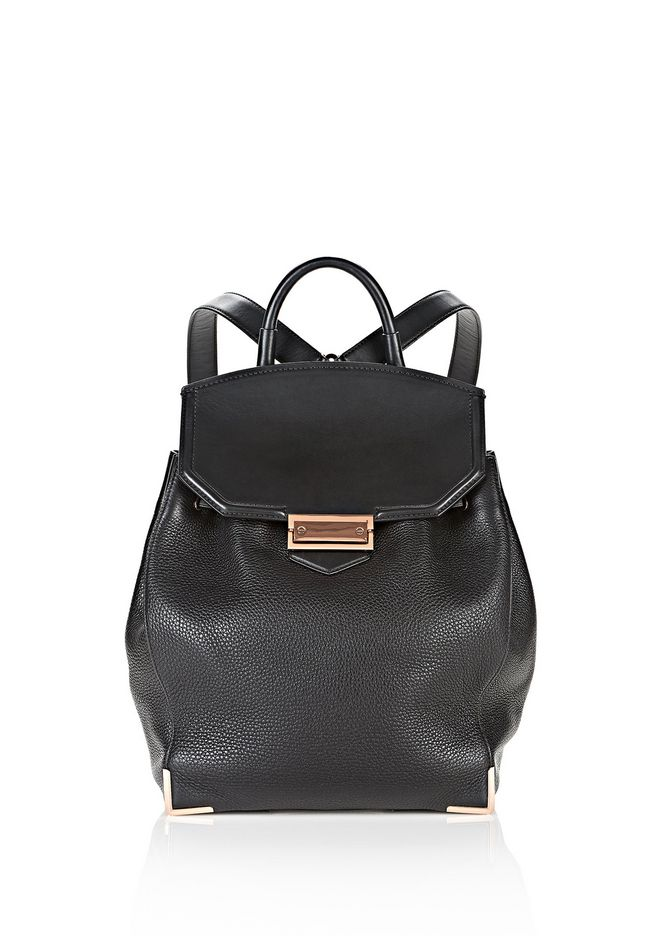 ALEXANDER WANG PRISMA SKELETAL BACKPACK IN SOFT BLACK WITH ROSE GOLD BACKPACK Adult 12_n_f