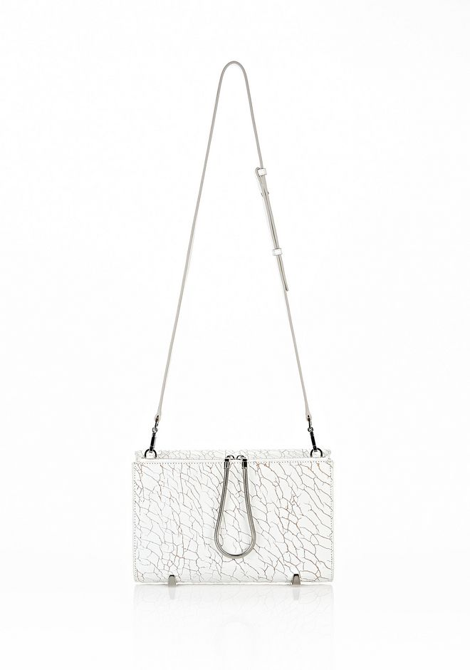 ALEXANDER WANG CHASTITY CLUTCH IN HEAVY CRACKED PEROXIDE WITH RHODIUM  CLUTCH Adult 12_n_d