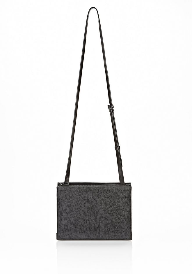 ALEXANDER WANG PRISMA SKELETAL DOUBLE ENVELOPE CLUTCH IN EMBOSSED BLACK WITH MATTE BLACK Shoulder bag Adult 12_n_f
