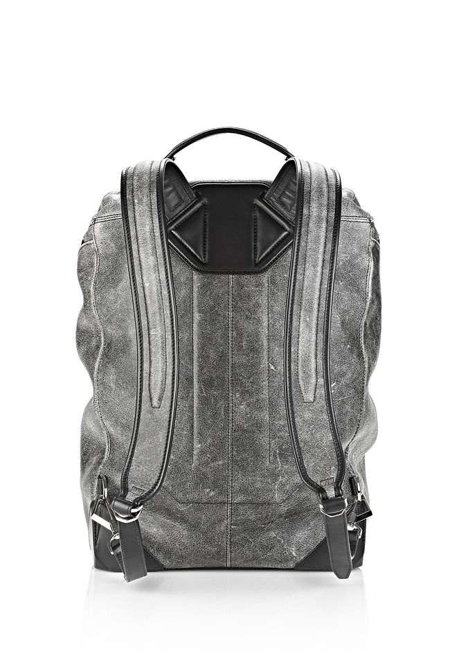 ALEXANDER WANG WALLIE BACKPACK IN DISTRESSED BLACK WITH RHODIUM BACKPACK Adult 12_n_d