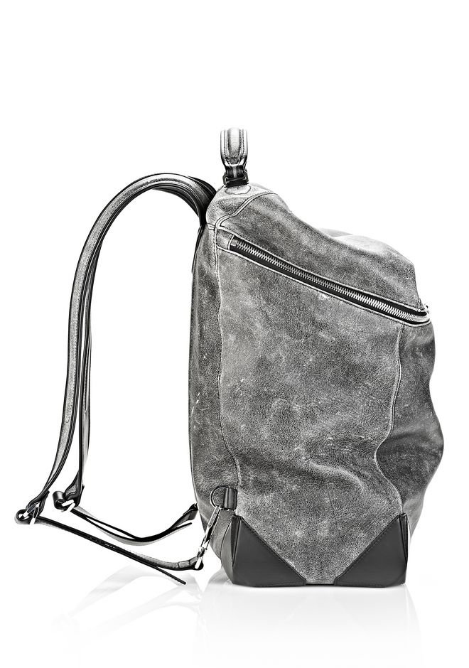 ALEXANDER WANG WALLIE BACKPACK IN DISTRESSED BLACK WITH RHODIUM BACKPACK Adult 12_n_e